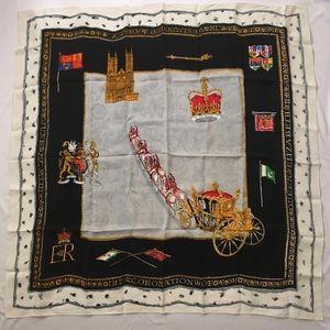 Rare Vintage Queen Elizabeth II Coronation Scarf